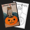 Halloween Greeting Owl & Pumpkin Postcard Rug Kit or Pattern
