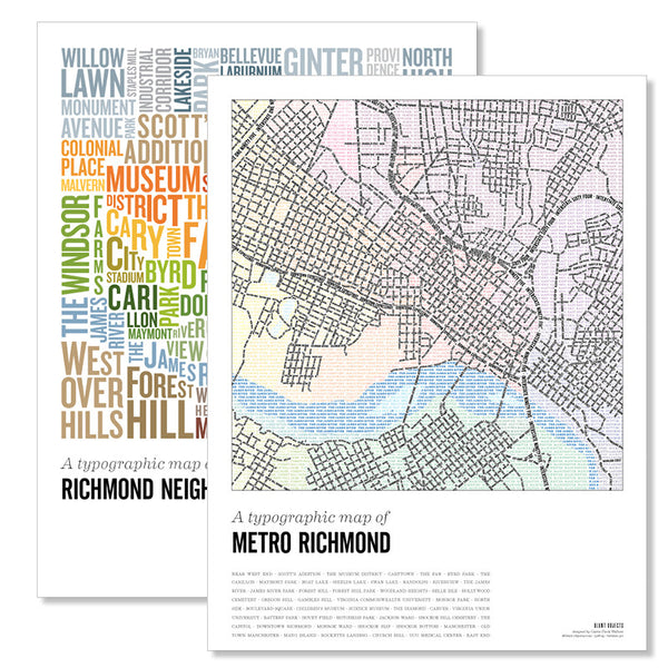 Richmond Type Map Poster Set