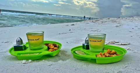 Lick. Drink. Suck.® with your shot-of-tequila kit on the beach!