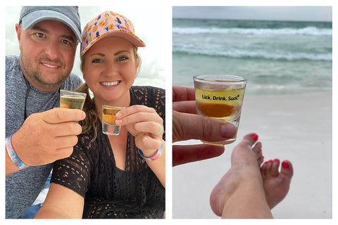 Lick. Drink. Suck.® with a Shot-of-Tequila Kit on the Beach