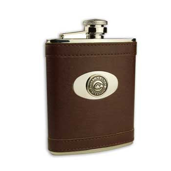 Bandon Dunes Leather Flask with Stainless Steel - Brown