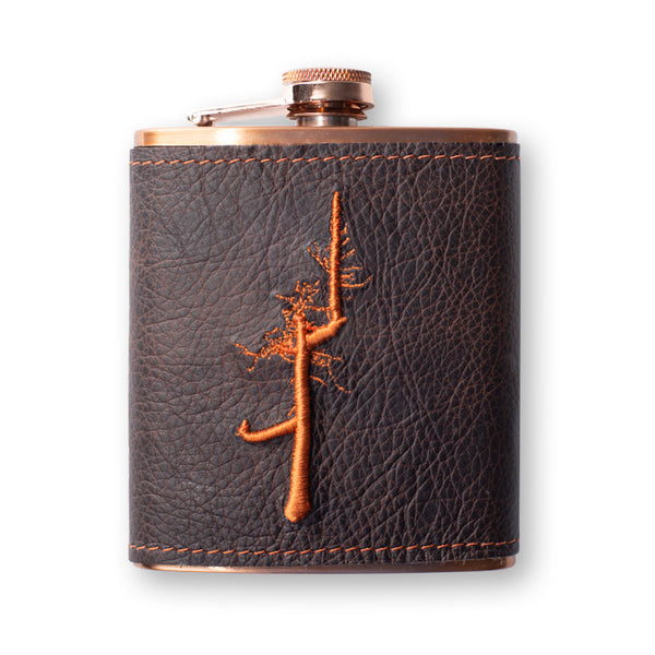 Leather Wrapped Copper Flask- Ghost Tree