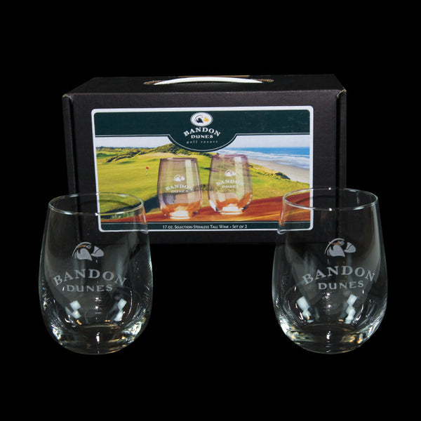 Stemless Wine Glass Set of 2 Bandon Dunes Logo