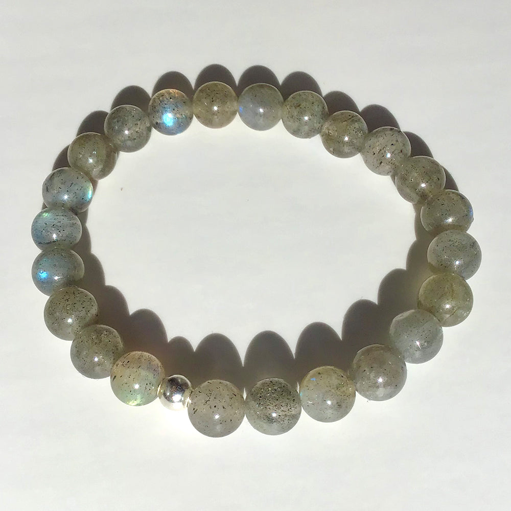 """Faith"" Light Blue Labradorite Bracelet"