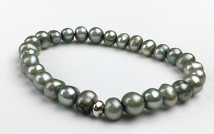 """Metallic Beetles"" Green Pearl Bracelet"