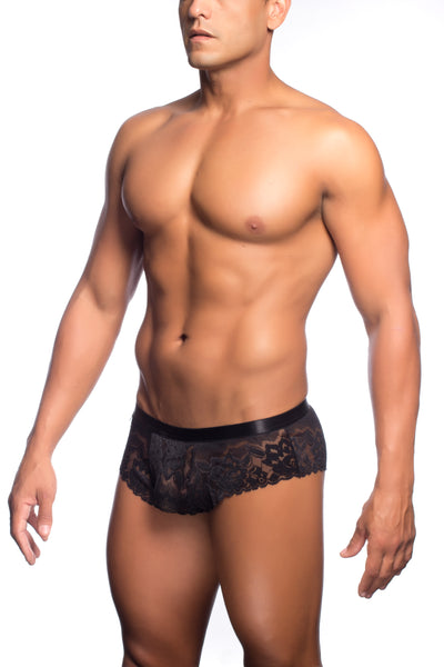 Lace Cheek Boxer - Black