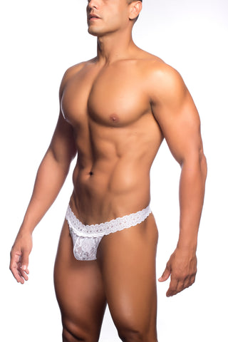 Lace Waist Thong - White