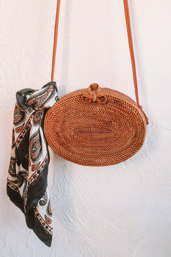 AMISHA PLAIN WEAVE OVAL RATTAN BAG