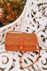 GEMI PLAIN WEAVE ROUND TUBE RATTAN BAG