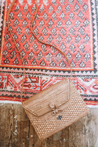 EKA DOT WEAVE RECTANGLE RATTAN BAG