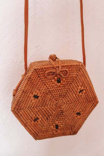 MAYA DOT WEAVE HEXAGON RATTAN BAG