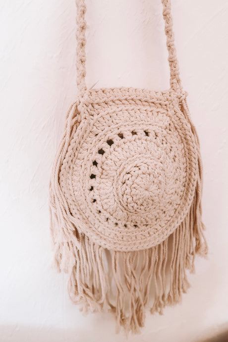 GRACE LARGE ROUND BEIGE MACRAME BAG
