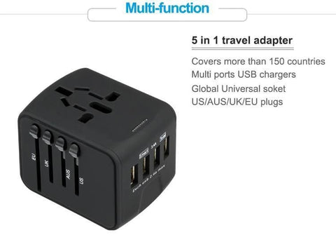 Travel Adapter with 4 USB 2 Colours - Einhorn Travel Accessories