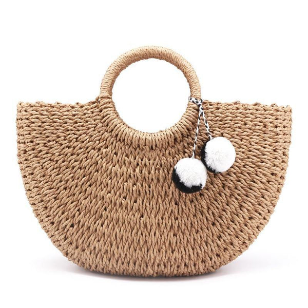 Handmade Woven Beach Bag with Pom Poms 2 Sizes, 2 Shades - Einhorn Travel Accessories