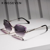 KINGSEVEN Vintage Rimless Alloy Frame Ladies Sunglasses N801 - Einhorn Travel Accessories