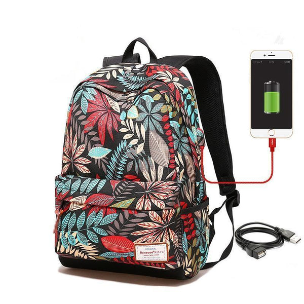 Printed Backpack with USB 2 Sizes 4 Colours - Einhorn Travel Accessories