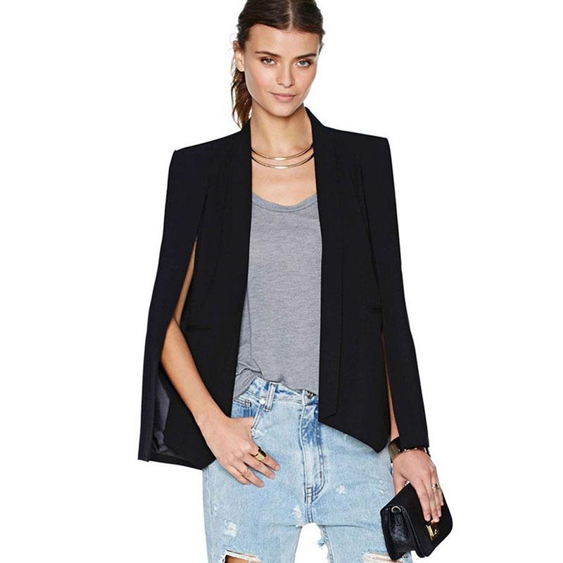 Fashion Women Long Sleeve Lapel Cape Casual Split Poncho OL Jacket Cloakuotelab-uotelab