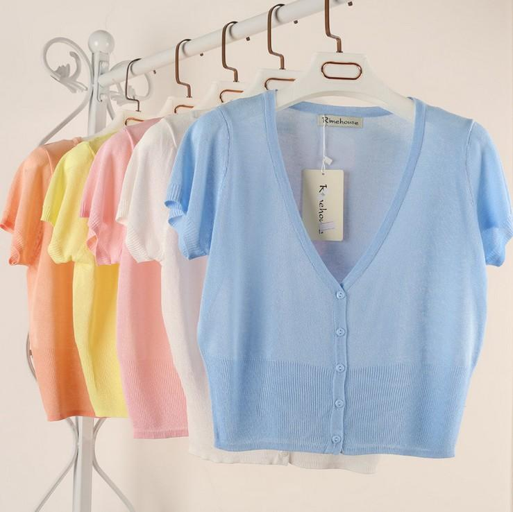 10 Candy Colors Size M-L Summer Spring Women V-Neck Knitted Casual Looseuotelab-uotelab