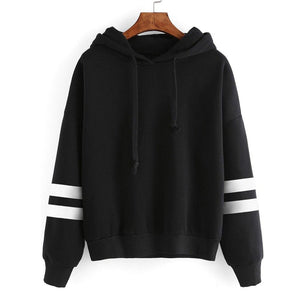 Women's Autumn Winter Warm Fleece Hooded Sweatshirt Fashion Striped Splicing Sleeve Looseuotelab-uotelab