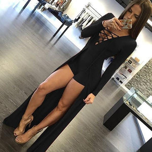 New Fashion Style Sexy Design Bodycon Jumpsuit Long Sleeves Playsuit Black Elegantuotelab-uotelab