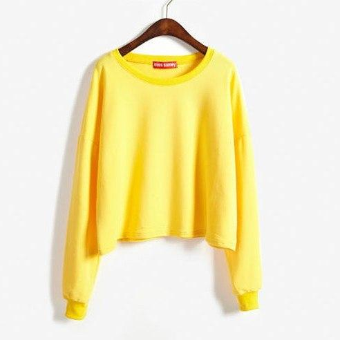 New Candy-Colored Sweatshirt Women Autumn Short Paragraph Long-Sleeved Hoodies 2017 Fashion Soliduotelab-uotelab
