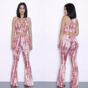 2016 Summer Plus Size 2 piece Set Women tie dye flare pantsuotelab-uotelab