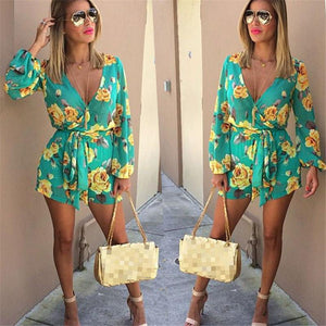 New Fashion Women Floral Printing Jumpsuits Ladies V Neck Long Sleeveuotelab-uotelab