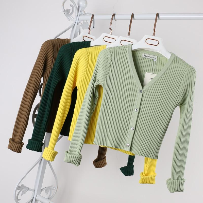 12 Colors Autumn Short Knitted Cardigan Jacket Women Female Coat Button Upuotelab-uotelab
