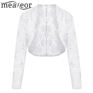 Meaneor Brand Knit Bolero Shrug Women Casual 3/4 Sleeve Lace Floral Lightuotelab-uotelab