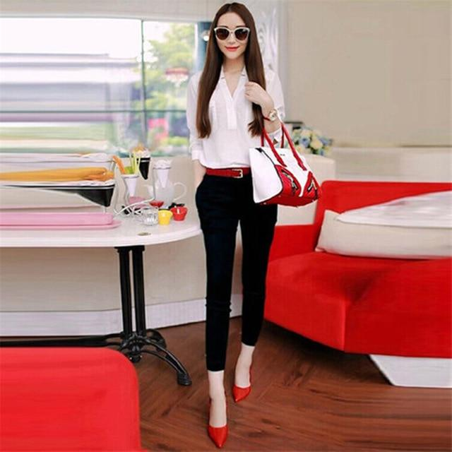 2017 New Women Summer Suits Blouse shirt Two-piece suit brands loose V-Neckuotelab-uotelab