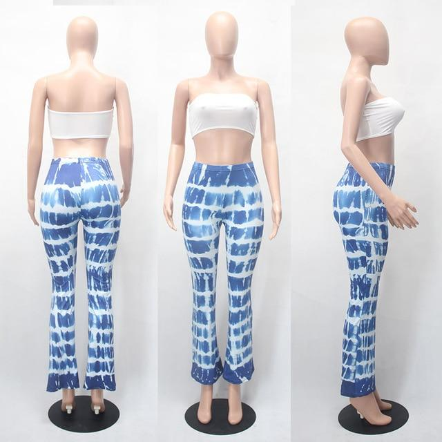 15 Colors Tie Dye Flare Pants Women Tracksuits American Hot Sale Wideuotelab-uotelab