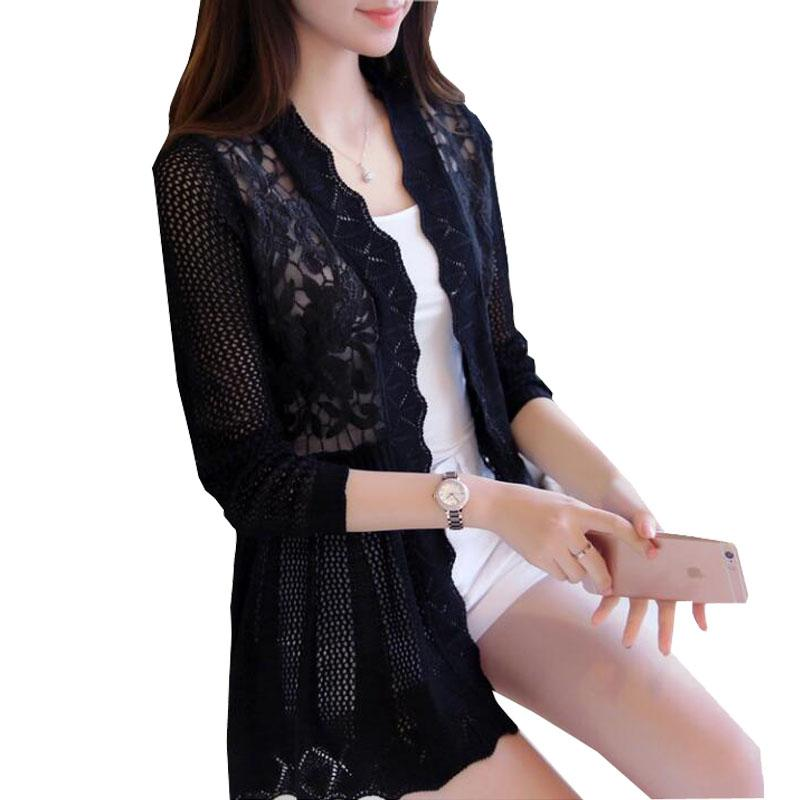 2017 female spring and autumn lace cutout thin sweater cardigan cape outerwearuotelab-uotelab