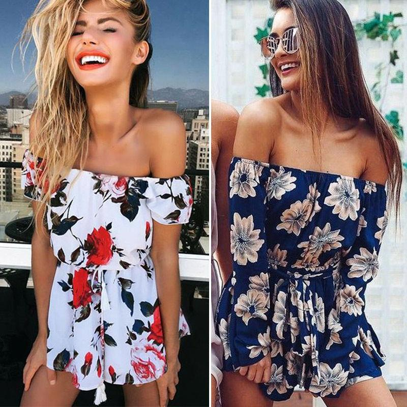 New Women Summer Jumpsuit Female Off Shoulder Beach Jumpsuit Clubwear Sexy Ladiesuotelab-uotelab