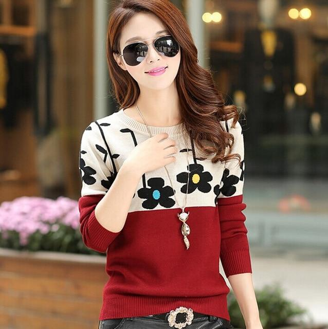 Autumn Winter New Fashion Women Sweater Clothes Korean Style Patchwork Pullovers Longuotelab-uotelab