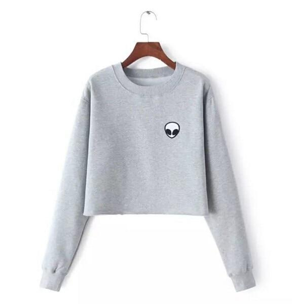 2017 Spring Autumn Alien Crop Tops Gray Hoodies Casual Long Sleeve Sweatshirtuotelab-uotelab