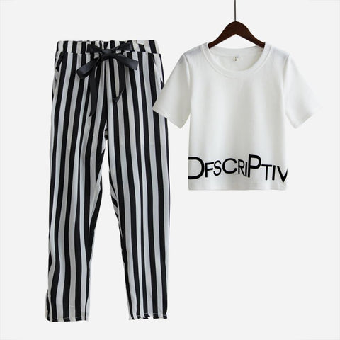 16d6f2185f87 Womens Set Summer White Letter Printed T Shirt Sexy Cropped Tops  +Stripeduotelab