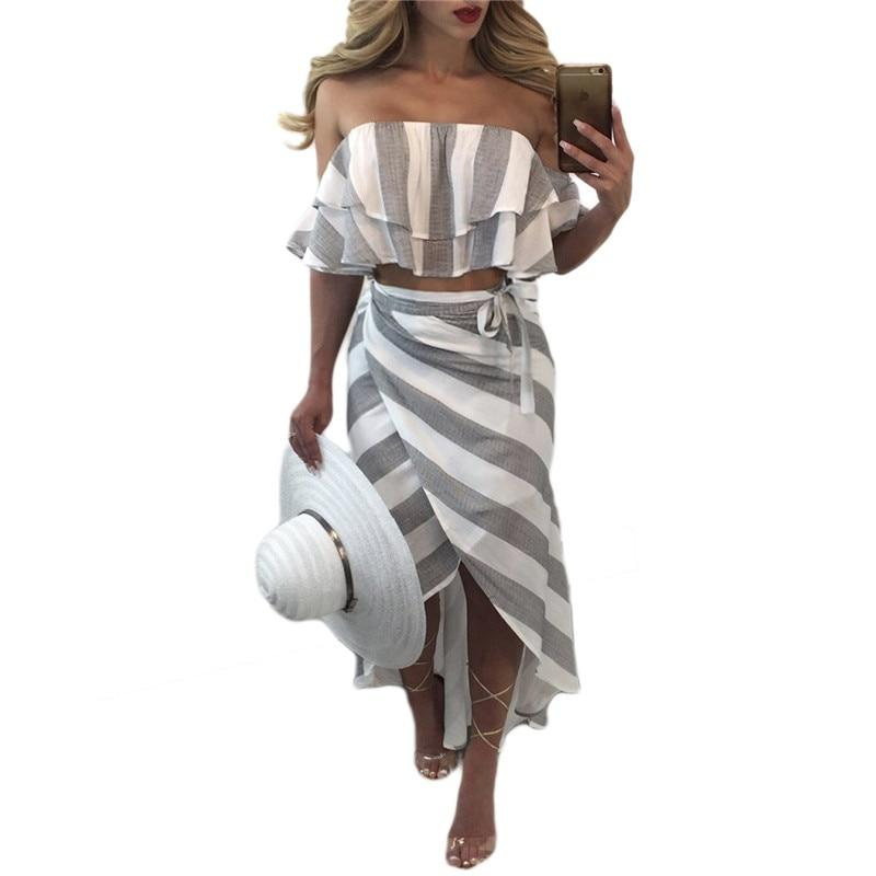 Summer Skirt Women 2 Piece Set Fashion Stripe Print Sexy Ruffles Straplessuotelab-uotelab