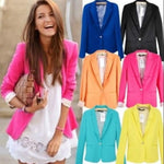 Hot Blazer Women New 2017 Candy Color Jackets Suit Slim yards Ladiesuotelab-uotelab