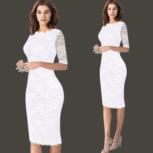 Womens Elegant Sexy Lace Crochet Hollow Out One Piece Dress Suit Pinupuotelab-uotelab