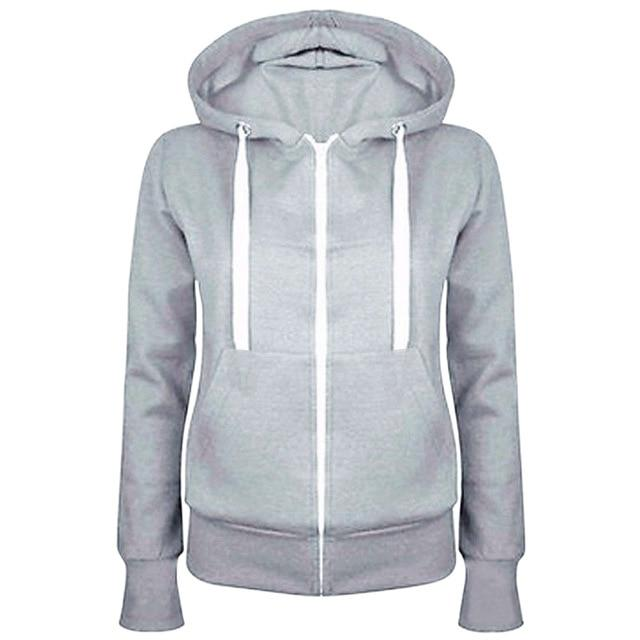 Fashion Women Solid Zip Up Hoodies Sweatshirt Hooded Long Sleeve Autumn Winteruotelab-uotelab