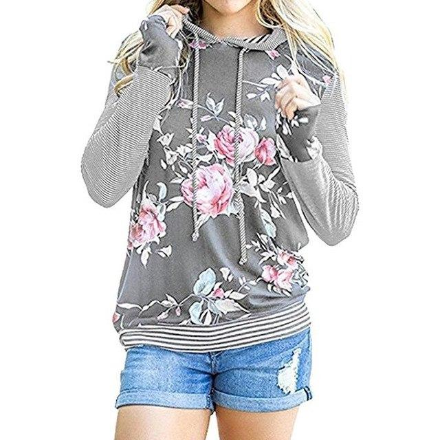 Women Autumn Hoodies Floral Printed Striped Sweatshirts Long Sleeve Pullover Causal Topsuotelab-uotelab