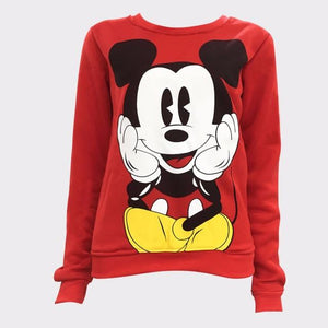 Womens Character Mouse Printed Sweatshirt Hoodies Casual Pullover Cute Jumpers Top Longuotelab-uotelab