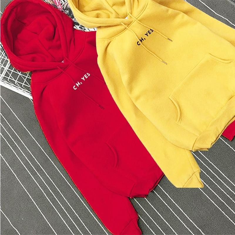 """OH YES"" Letter Hoodies Women Fleece Thick Fall Winter Long Sleeve Sweatshirtuotelab-uotelab"