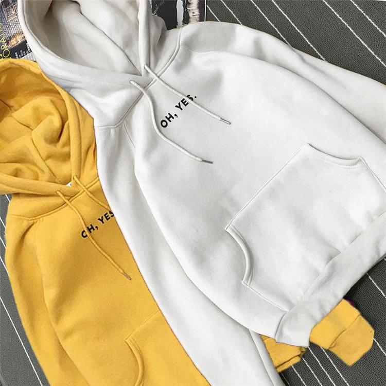 """OH YES"" Letter Fleece Long Sleeve Sweatshirt Women Hoodies Women Autumn Winteruotelab-uotelab"