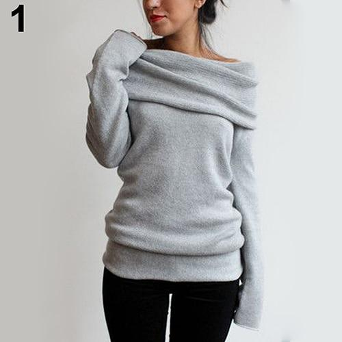 Women Sexy Casual Off Shoulder Roll Neck Long Sleeve Knitted Jumper Sweateruotelab-uotelab