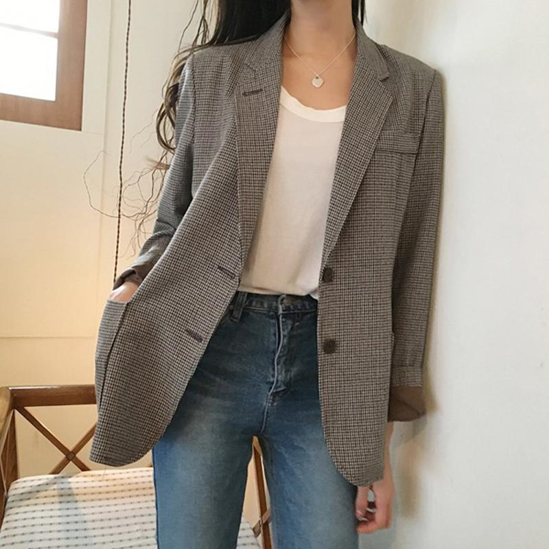 Korean Plaid Office Lady Blazer Jacket Vintage High Quality Fashion Work Suituotelab-uotelab