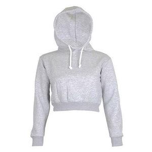 2017 Autumn Women Hoodies Solid Crop Hoodie Long Sleeve Jumper Hooded Pulloveruotelab-uotelab