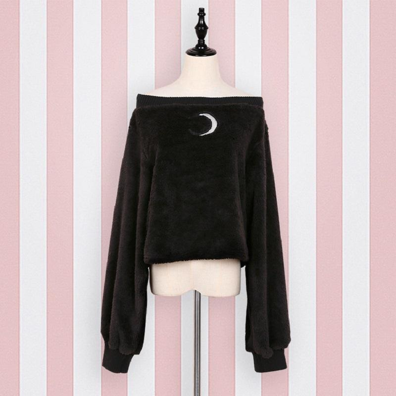 Harajuku Pullover Moon Hollow Out Embroidery Thick Fluffy Punk Sexy Women Shortuotelab-uotelab