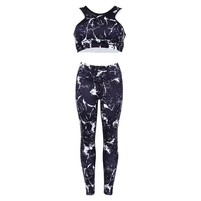 Flash Printing Sporting Women Suit Two Piece Set Women Fitness Workout Leggingsuotelab-uotelab