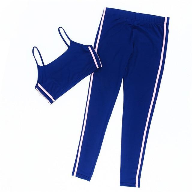 High Stretch Women Tracksuit Set Fashion Side Stripe Casual Sexy Spaghetti Strapuotelab-uotelab